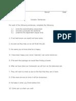 Complex Sentence Worksheet
