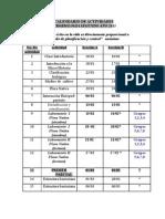 Calendario Actividades Segundo 2013