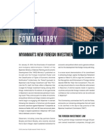 Myanmar's New Foreign Investment Regime - 2013