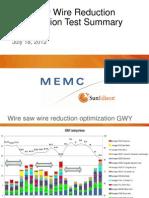 Wire Saw Wire Reduction PRESENTATION Optimization Test