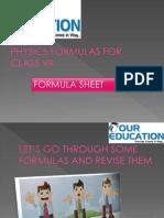 Physics Formulas for class 8