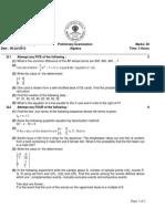 SSC Algebra Specimen Paper - II