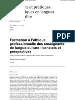 Formation à l'éthique professionnelle des enseignants de langue-culture_ constats et perspectives