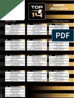 Calendrier TOP14 Saison 2013-2014