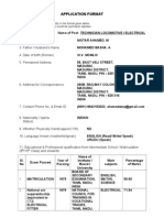 Application Format for Nistar Ahamed