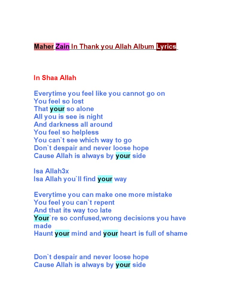 Maher Zain Lyrics | Religious Belief And Doctrine | Religion