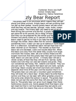 Grizzly Bear Report for Lesley Mouradian