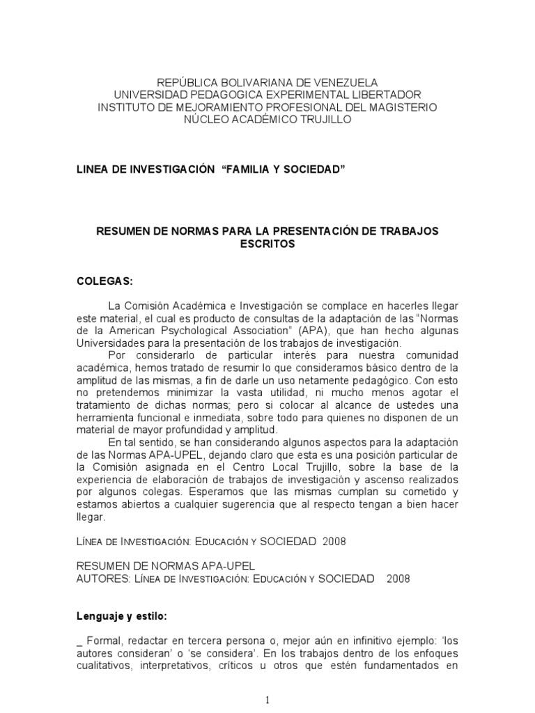 Resumen de la Normas UPEL para la presentacin de trabajos