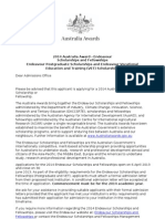A Letter From Endeavor Scholarship Authorities