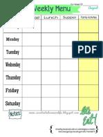Weekly Menu Plan Printable- August Theme