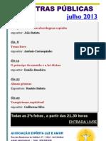 Palestras públicas julho 2013