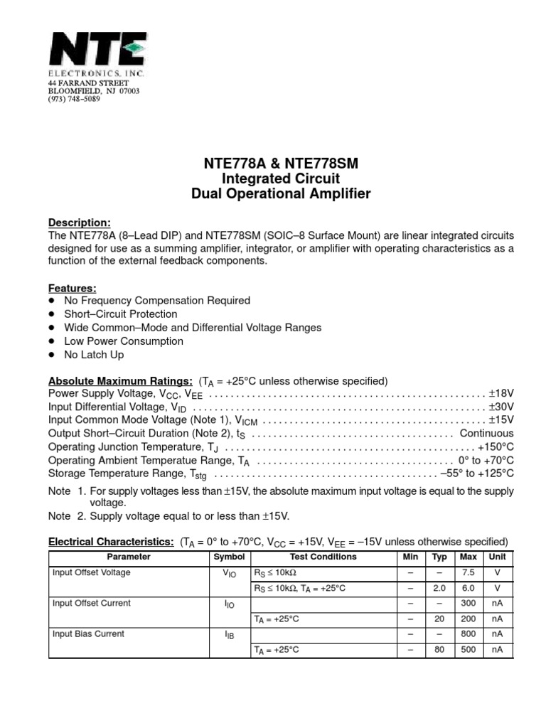 Ne5532 Nte778a Amplifier Electronic Circuits Short Circuit Electronics