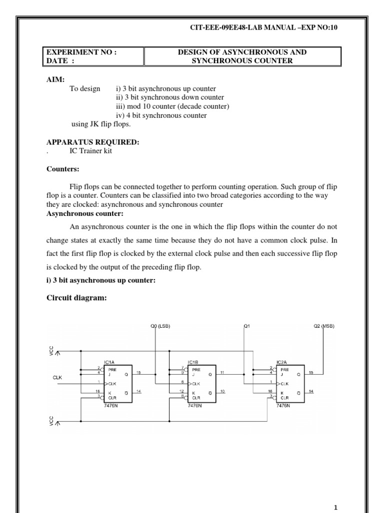 lab experiment Design of Asynchronous and Synchronous Counter | Electronic  Engineering | Computer Hardware