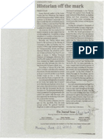 """""""Historian Off the Mark"""" by Dimitri Cavalli in the Rockland Journal-News newspaper in New York (June 23, 2003), p. 4B"""