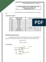 Design of Half Full Adder, Half Full Subtractor and Parallel Addersubtractor
