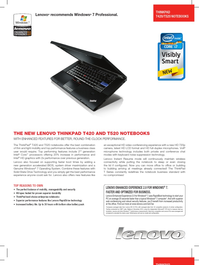 t420_t520_datasheet | Lenovo | Laptop