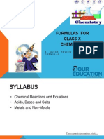 Formulas for Class X Chemistry