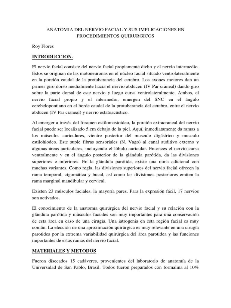 Anatomia Del Nervio Facial y Sus Implicaciones en Procedimientos ...