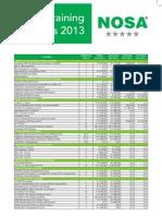 NOSA-National Price List 2013
