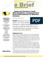 Bullying and Teasing of Youth  With Disabilities: