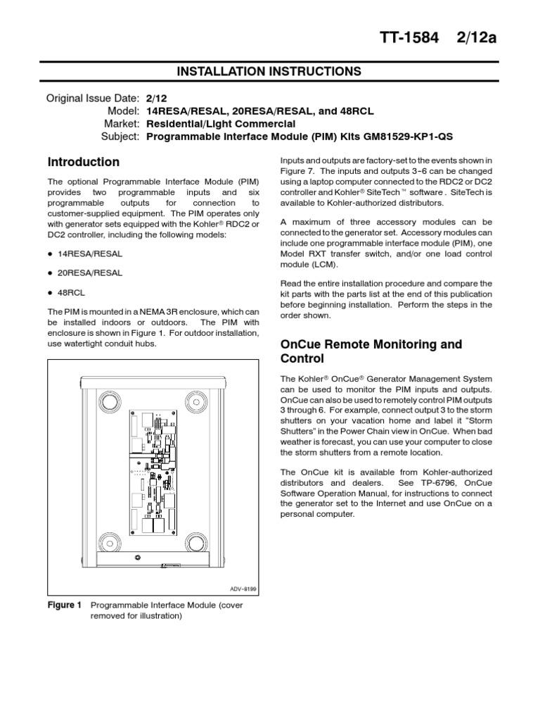 Kohler Tt1584PIM | Relay | Cable