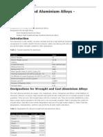 Aluminium and Aluminium Alloys Designations