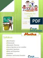 Formulas for Class X Mathematics
