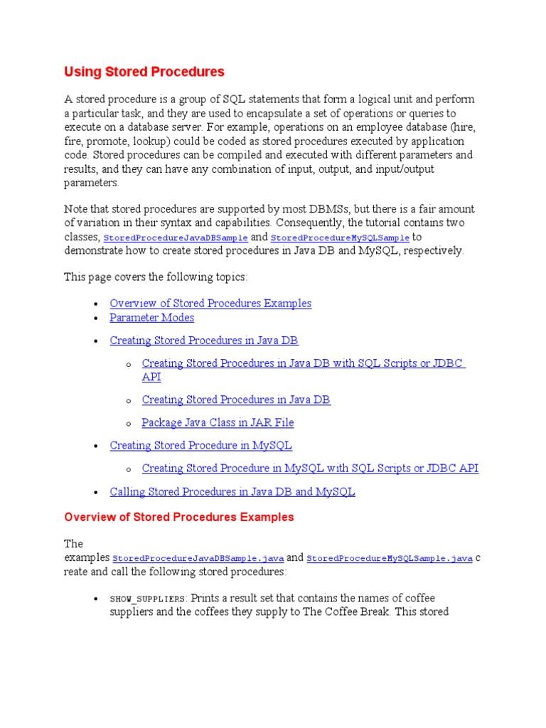 Stored Procedures   Parameter (Computer Programming)   Java