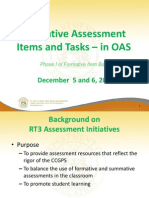 Formative Assessment Items and Tasks in OAS December 20121