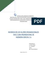 Incidenciadelosvaloresorganizacionalesenelclima0organizacionaldeingenieriagercon,c.A