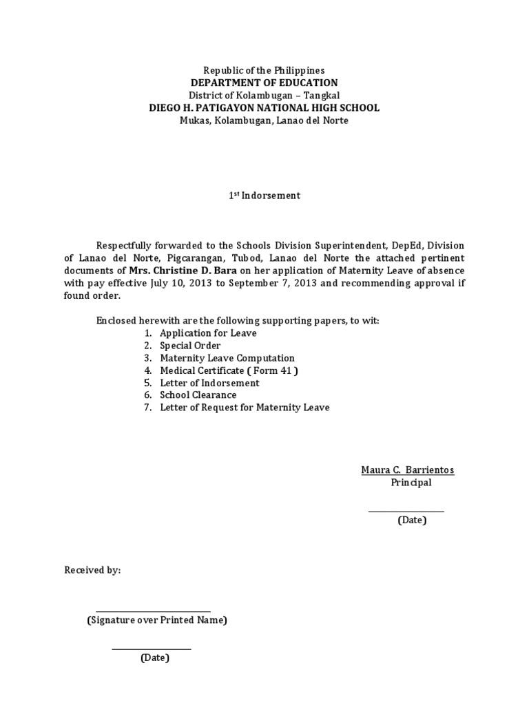 letter for maternity leave