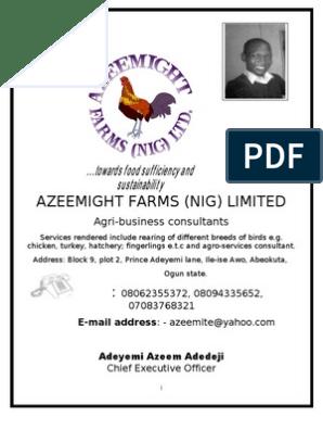 Business Plan proposal | Poultry Farming | Agriculture