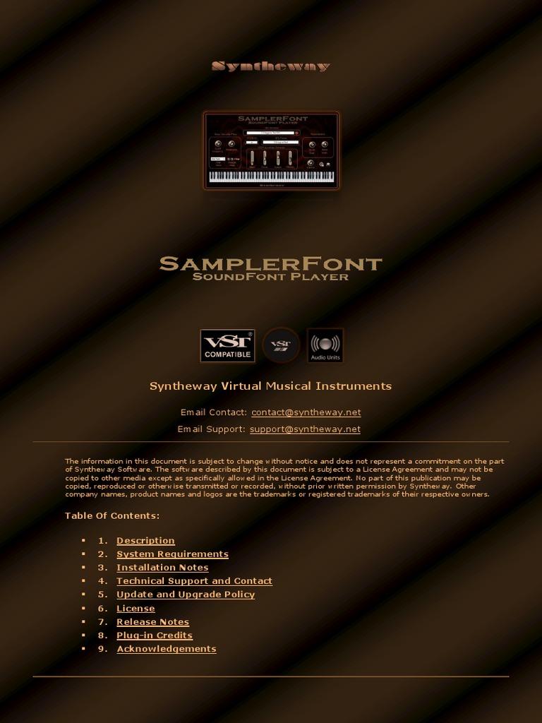 Fantasize SoundFont SF2 Player VST Plugin Software (Sampler) by