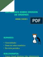 Decisiones Sobre Emision de Ordenes