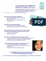 When Your Child Is Diagnosed with DIABETES: PARENTS' QUESTIONS for the Health Care Team