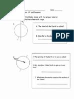 Worksheet Rotation, Revolution, Tilt and Seasons