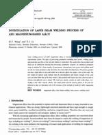 Investigation of Laser Beam Welding Process of Az61 Magnesium Based Alloy 2006 Acta Metallurgica Sinica (English Letters)