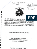 """An Act to Ratify the Forest Management Contract Area """"F"""" in Grand Gedeh & River Gee Counties Between the Republic of Liberia and Euro Liberia Logging Company Inc"""
