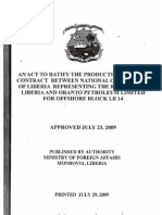 An Act to Ratify the Production Sharing Contract Between the National Oil Company of Liberia (NOCOL) Representing the Republic of Liberia and Oranto Petroleum Limited for Offshore Block LB 14