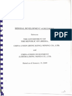 Mineral Development Agreement between the Government of the Republic of Liberia, China-Union (Hong Kong) Mining Co., LTD. And China-Union Investment (Liberia) Bong Mines Co., LTD.