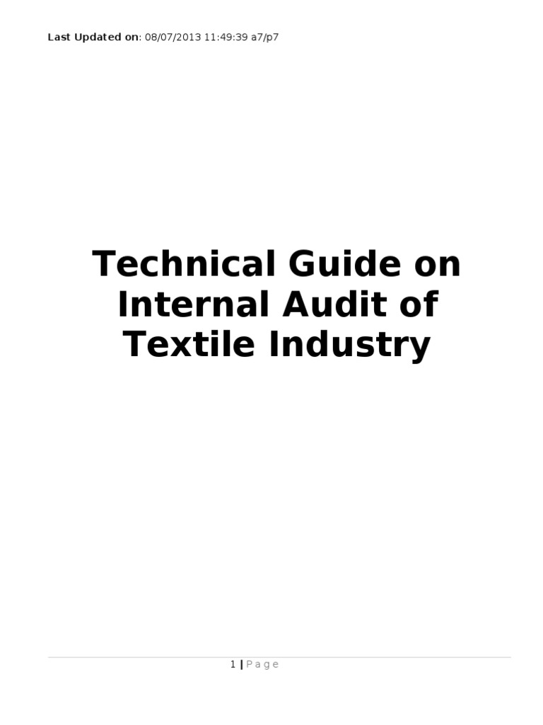 Technical Guide on Internal Audit of Textile Industry