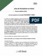 Premio Roche de Periodismo en Salud, en la categoría 'Televisión y video'