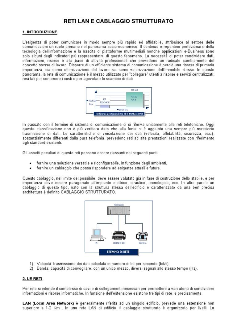 Schema Cablaggio Rete Lan : Reti lan cablaggio strutturato