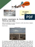 Gestões municipais da Paraíba gastam R$ 739,8 mi com folha