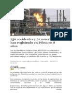 250 accidentes y 62 muertes se han registrado en Pdvsa en 8 años