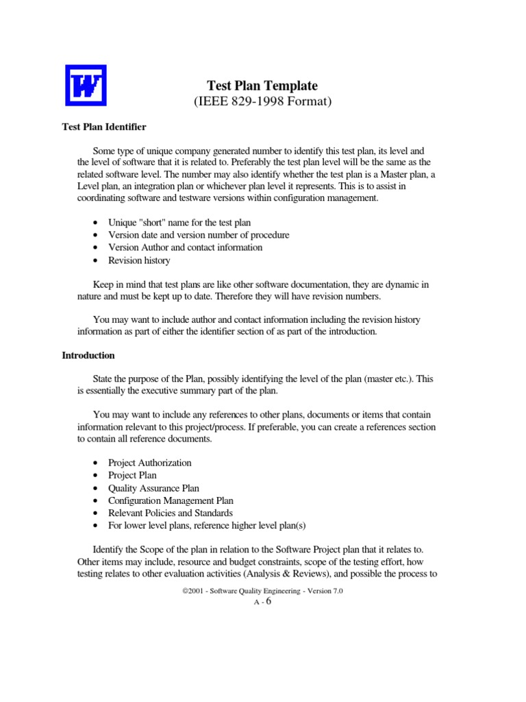Test Plan Template (IEEE 829-1998 Format) | Business Process ...