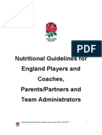 Nutritional Guidelines for rugby