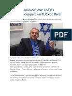 Israel espera iniciar este año las negociaciones para un TLC con Perú
