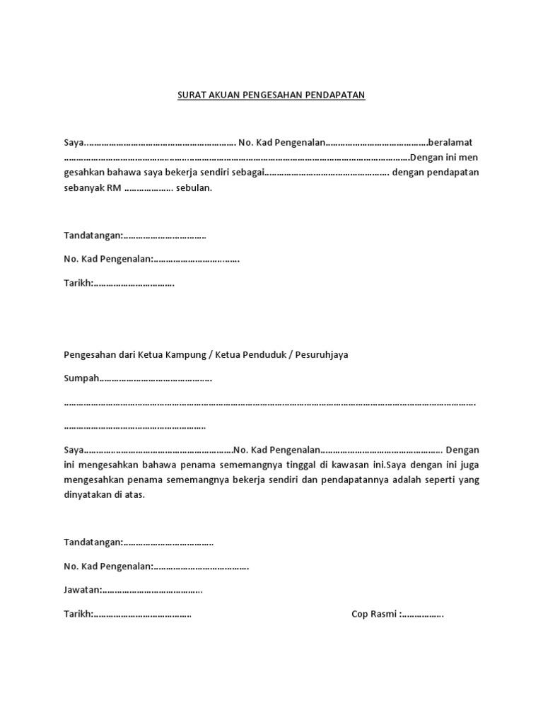 Contoh Surat Pengesahan Pendapatan Dari Ketua Kampung Pdf