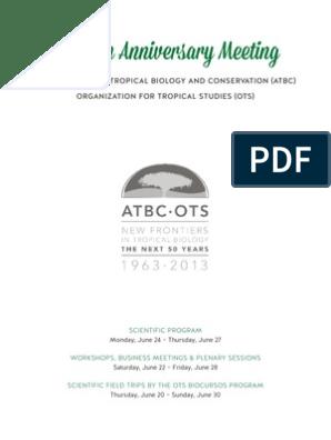 Atbc Ots 2013 Program Conservation Biology Biodiversity